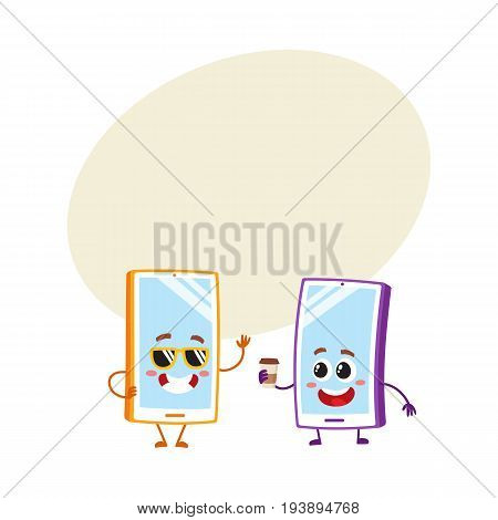 Two cartoon mobile phone characters, one in funky sunglasses, another holding paper coffee cup, vector illustration with space for text. Two cartoon mobile phone, smartphone characters