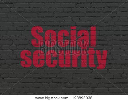 Safety concept: Painted red text Social Security on Black Brick wall background