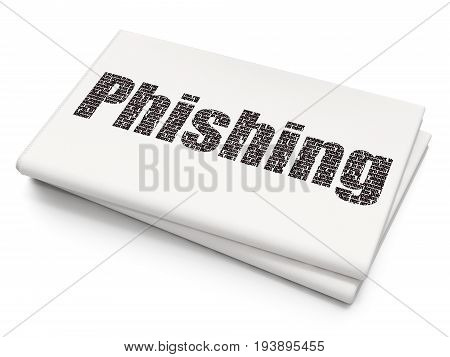 Security concept: Pixelated black text Phishing on Blank Newspaper background, 3D rendering
