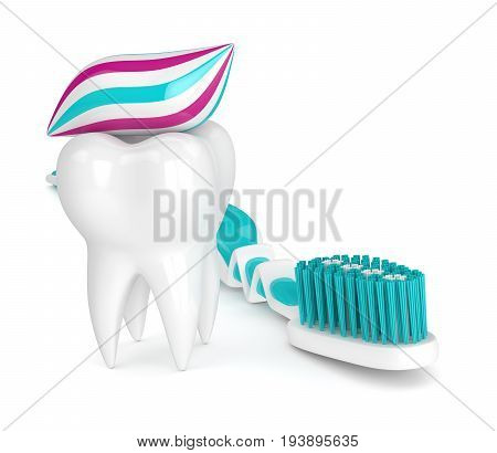 3D Render Of Toothbrush, Toothpaste And Tooth