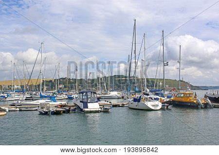 Boats moored on the River Fal in Cornwall