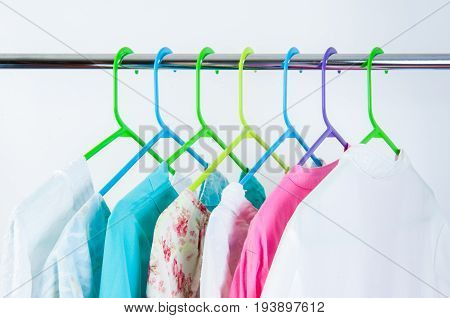 Different Color Clothes T-shirts On The Rack