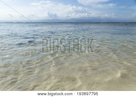 View to the Bali coast from Nusa Lembongan Beach, Bali, Indonesia