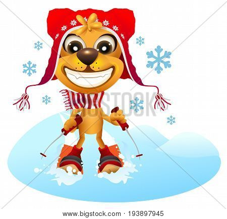 Yellow dog skier in red hat skiing. Fun vector cartoon illustration