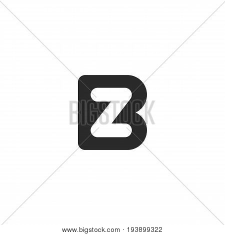 Simple monogram logo made from black letters B and Z or N
