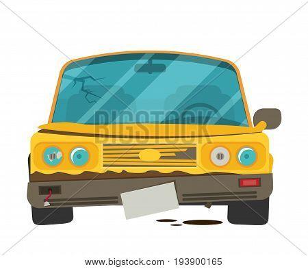 Car Crush Vector Illustration Isolated On White Background