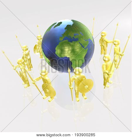 Yellow armed men with globe on white background 3D illustration.