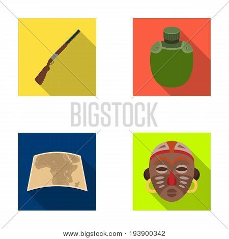 Hunting rifle, flask in the case, map, African mask. African safari set collection icons in flat style vector symbol stock illustration .