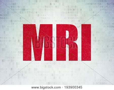Healthcare concept: Painted red word MRI on Digital Data Paper background