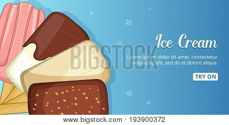 Ice cream cold horizontal concept. Cartoon illustration of ice cream cold banner horizontal vector for web