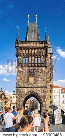 Unidentified Tourists On Charles Bridge -karluv Most. Prague, Czech Republic.