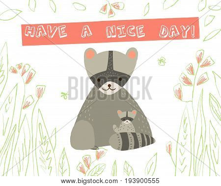 Cute  raccoon with child and floral elements  on white background. Vector greeting card in cartoon style for print design of children's banners, postcards, posters, booklets.