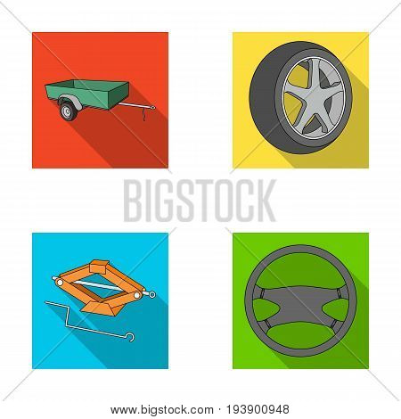 Caravan, wheel with tire cover, mechanical jack, steering wheel, Car set collection icons in flat style vector symbol stock illustration.