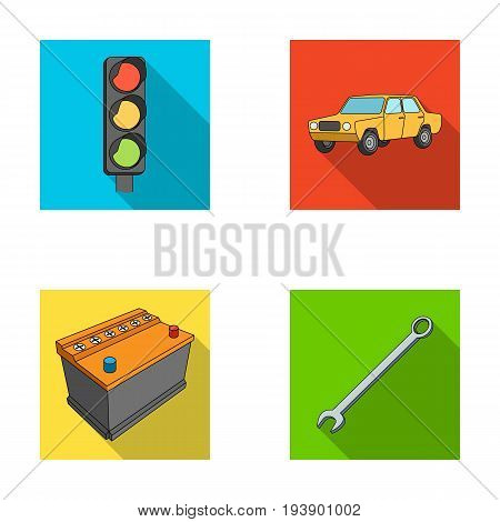 Traffic light, old car, battery, wrench, Car set collection icons in flat style vector symbol stock illustration .