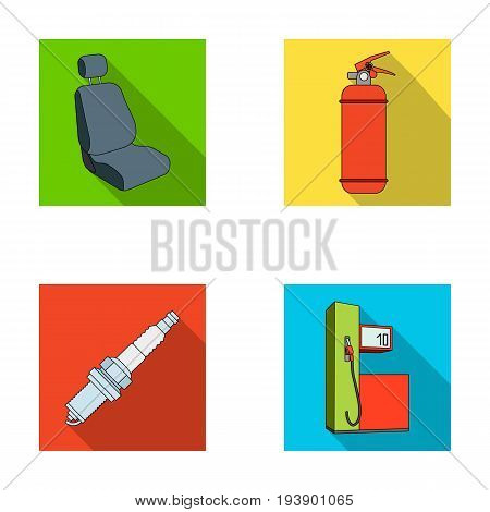 Chair with headrest, fire extinguisher, car candle, petrol station, Car set collection icons in flat style vector symbol stock illustration .