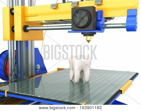 3D Tooth Printer 3D Render On White Background No Shadow