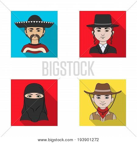 A mexican, a jew, a woman from the middle east, an american. The human race set collection icons in flat style vector symbol stock illustration .