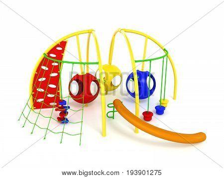 Children's Playground Balls Blue Yellow Red 3D Render On White Background