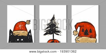 Hand drawn vector Merry Christmas greeting card set with cute funny black cat in red Santa Claus hat character, Christmas tree in pot and red hat illustration isolated on white background.