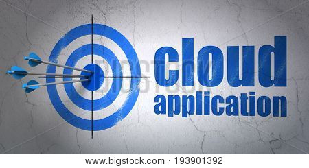 Success cloud technology concept: arrows hitting the center of target, Blue Cloud Application on wall background, 3D rendering