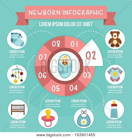 Newborn infographic banner concept. Flat illustration of newborn infographic vector poster concept for web