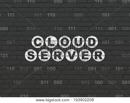 Cloud computing concept: Painted white text Cloud Server on Black Brick wall background with Binary Code