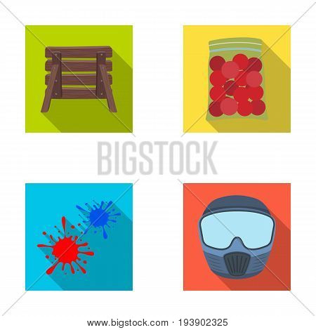 Wooden barricade, protective mask and other accessories. Paintball single icon in flat style vector symbol stock illustration .