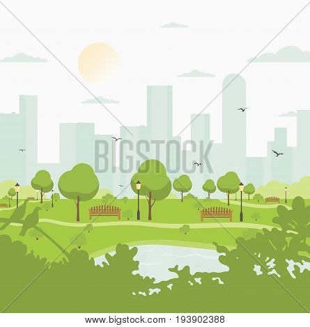 City park against high-rise buildings. Landscape with trees, bushes, lake, birds, lanterns and benches. Colorful vector square illustration in flat cartoon style