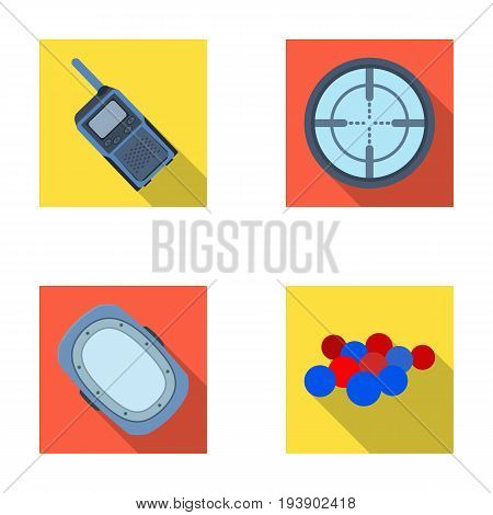 Balls with paint and other equipment. Paintball single icon in flat style vector symbol stock illustration .