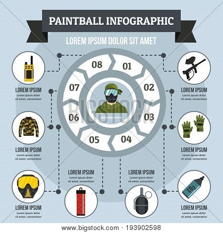 Paintball infographic banner concept. Flat illustration of paintball infographic vector poster concept for web