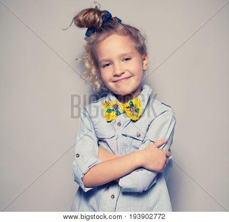 Portait girls studio shot. Fashion child.