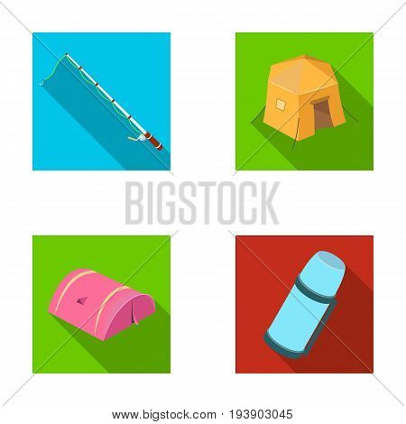Spinning for fishing, tent, thermos.Tent set collection icons in flat style vector symbol stock illustration .