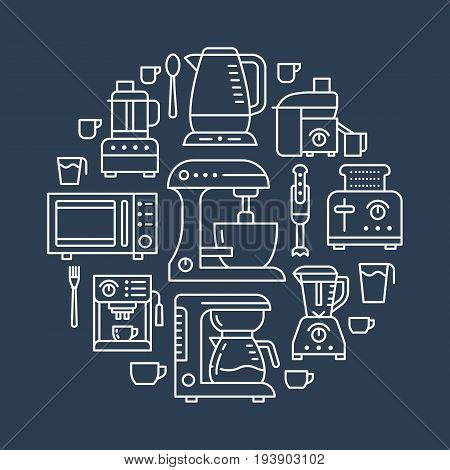 Kitchen small appliances equipment banner illustration. Vector line icon of household cooking tools - blender mixer, coffee machine, microwave, food processor, toaster. Electronics circle template.
