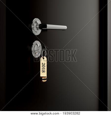 Brown Hotel Room Door With Key Lable Number 2018