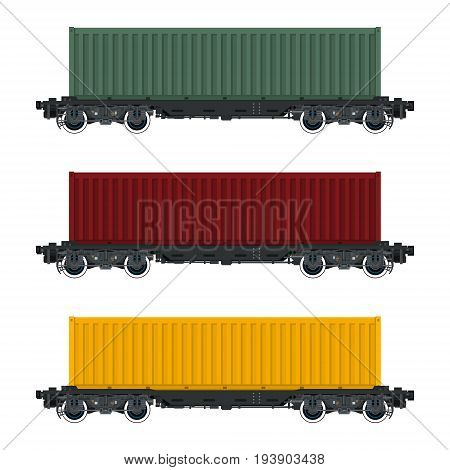 Set of Cargo Railway Containers Green Red and Yellow Container on Railroad Platform Isolated on White Background Railway Transport Vector Illustration