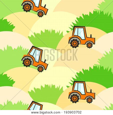 Cute Agricultural Kids Pattern With Tractors On Field With Sand And Grass