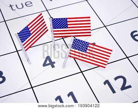 July 04 pinned on a calendar by american flag pins. Independence day concept. 3d rendering illustration