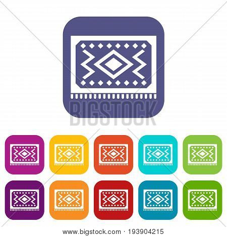 Turkish carpet icons set vector illustration in flat style In colors red, blue, green and other