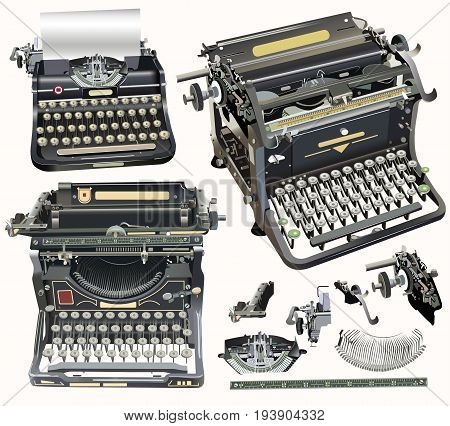 vector set of old fashion vector typewriters