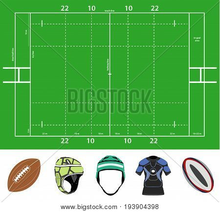vector set of the rugby field and stuff