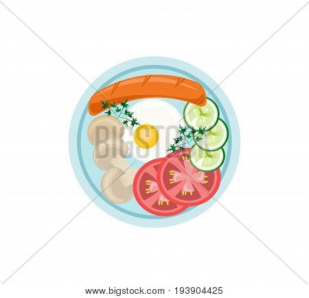 English Breakfast plates flat style top view Vector illustration