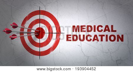 Success Studying concept: arrows hitting the center of target, Red Medical Education on wall background, 3D rendering