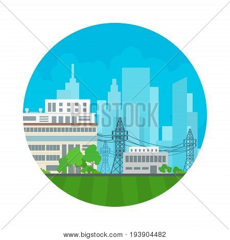 Icon Power Plant High Voltage Lines Supplies Electricity to the City Electric Power Transmission Vector Illustration