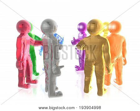 A group of color men on the white background 3D illustration.