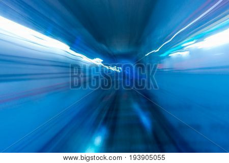 Line of lighting in the tunnel subway. Underground light