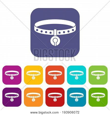 Cat collar icons set vector illustration in flat style In colors red, blue, green and other