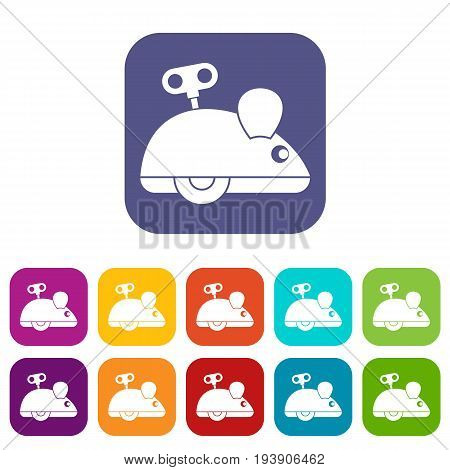 Clockwork mouse icons set vector illustration in flat style In colors red, blue, green and other
