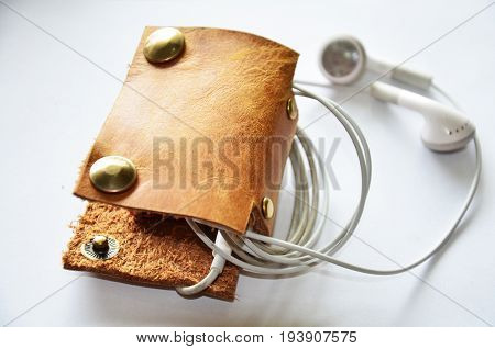 Handcrafted Genuine Leather Pocket For Keep Earphone Cable
