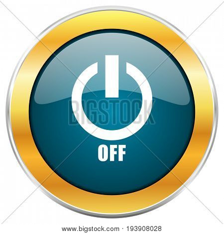 Power off blue glossy round icon with golden chrome metallic border isolated on white background for web and mobile apps designers.