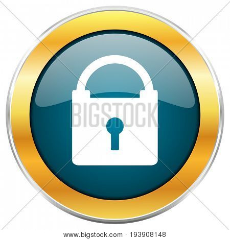 Padlock blue glossy round icon with golden chrome metallic border isolated on white background for web and mobile apps designers.